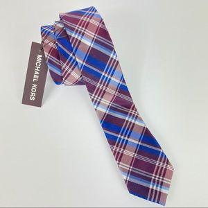 Michael Kors plaid men's tie red blue new